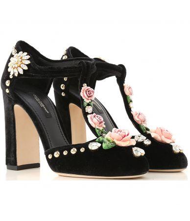 Pantofi dama, DOLCE & GABBANA, Jewel Embellished Velvet, CD0655