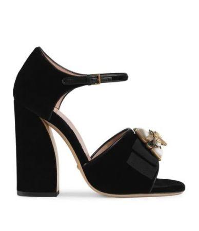 Gucci, Black Velvet Bee Sandals, 524661K4D80
