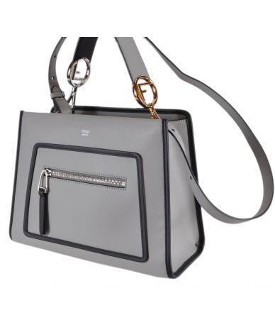 Geanta Fendi, Smooth Calf Leather Runaway Grey, 8BH344