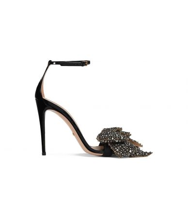 Gucci, Patent Crystal Removable Bow Sandals