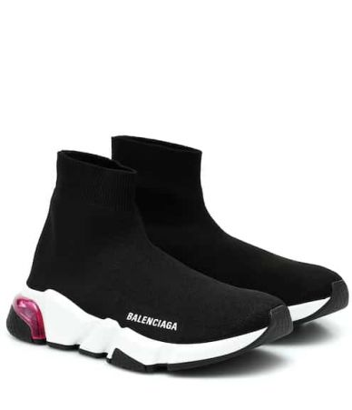 Adidasi Balenciaga, Black & Pink Clear Sole Speed Sneakers