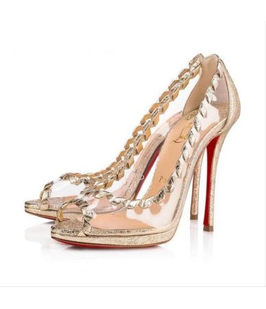 Pantofi cu toc Christian Louboutin, Gold Hargaret Peep Toe Stiletto Pumps