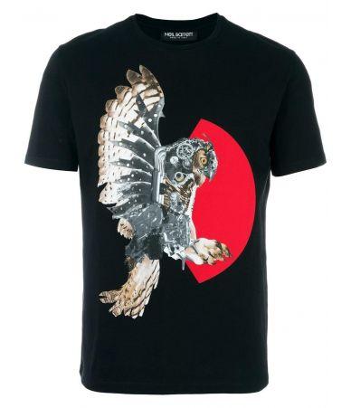 Neil Barrett, Owl Print T-Shirt, Black tee, PBJT185SE523S
