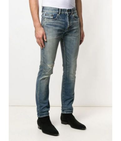 Blugi barbati, SAINT LAURENT, ripped stonewashed high rise jeans, YD862 4512
