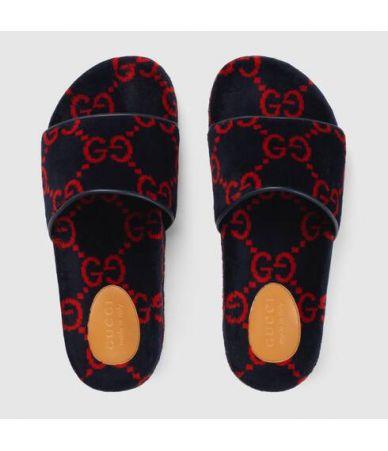 Papuci barbati, Gucci, Terry Cloth Slide Sandal, 575083