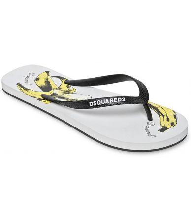 Papuci de plaja, Dsquared2, Banana Print Flip Flop, S15FF401172