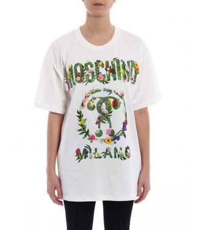 Moschino, FLOWER DETAILED LOGO T-SHIRT, 07020440A3001