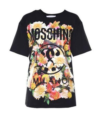 Moschino, FLOWER DETAILED LOGO T-SHIRT BLACK, DJ07010440J3555