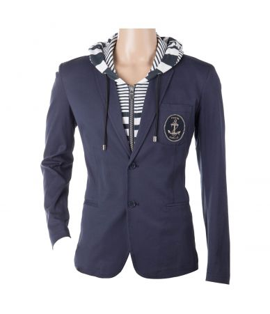 Frankie Morello Hooded Blazer, Anchor Print
