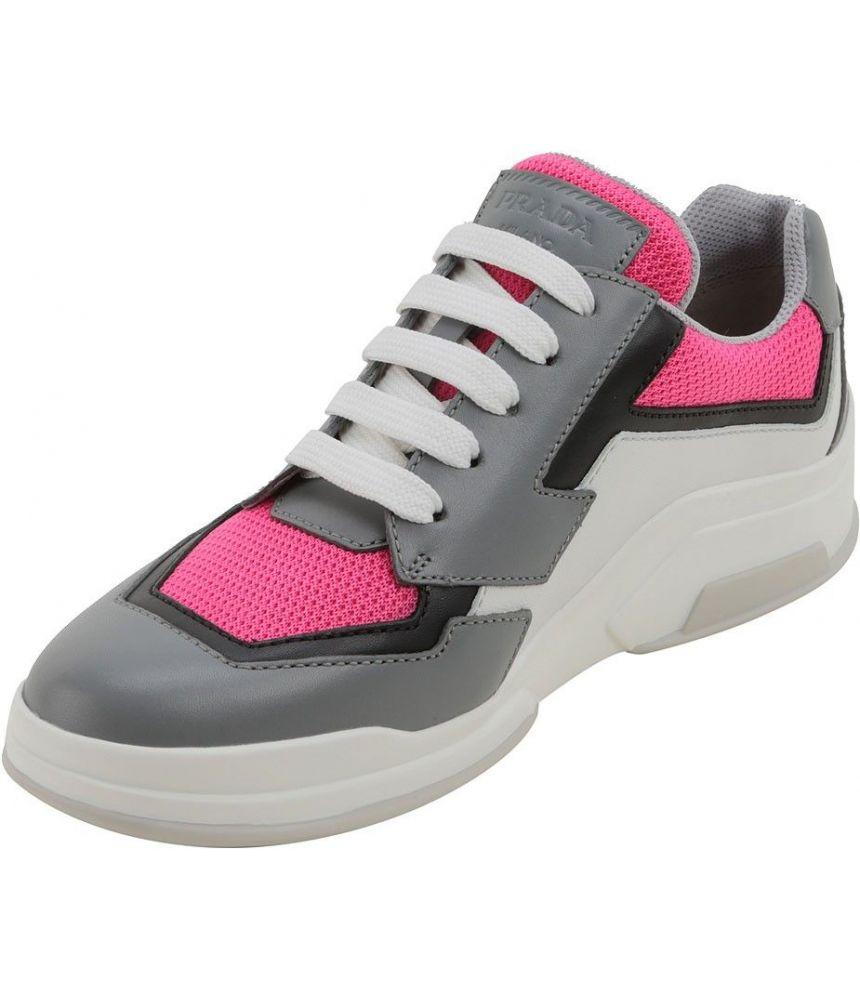 Prada Women's Sneakers, Mid-top, Fuchsia Gray