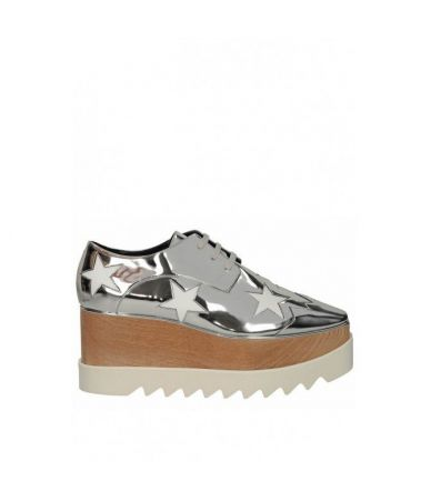 Stella McCartney Wedges, Elyse Mirror Silver Faux