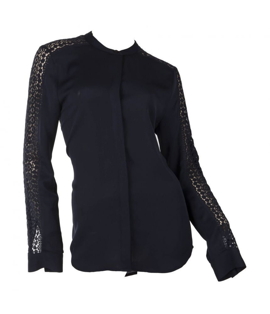 Michael Kors black shirt, embroidered sleeves, silk