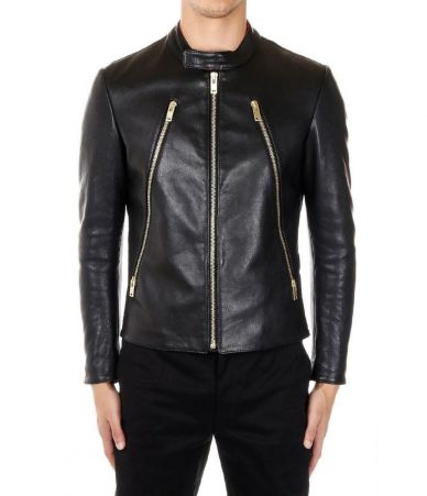Maison Margiela zip detail leather jacket S50AM0326SY0941