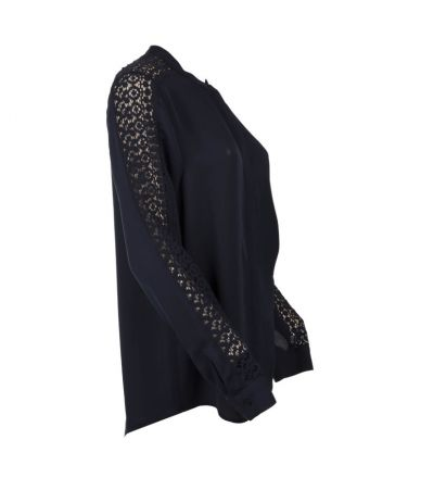 Michael Kors black shirt, embroidered sleeves, silk