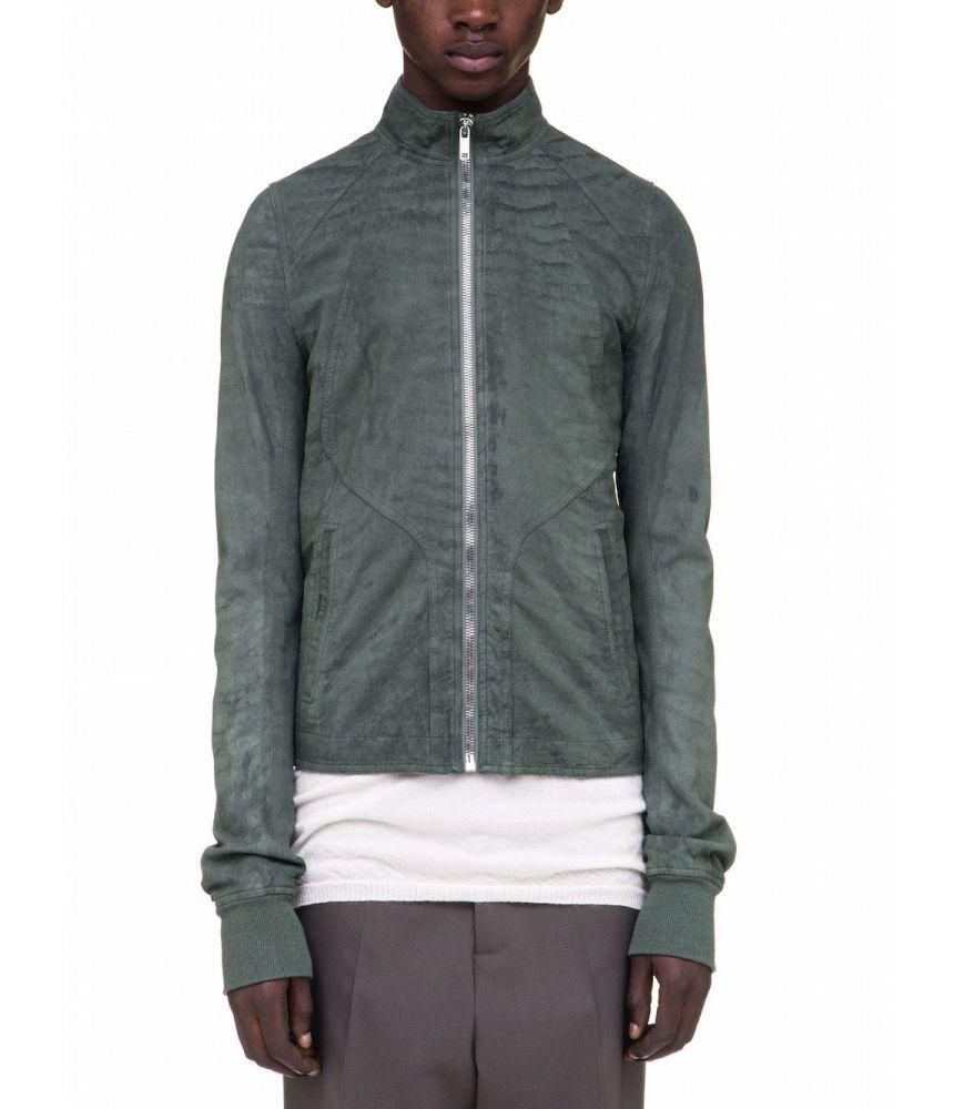 Rick Owens Intarsia Leather Jacket, Track, Green, RU18S5761 LB105