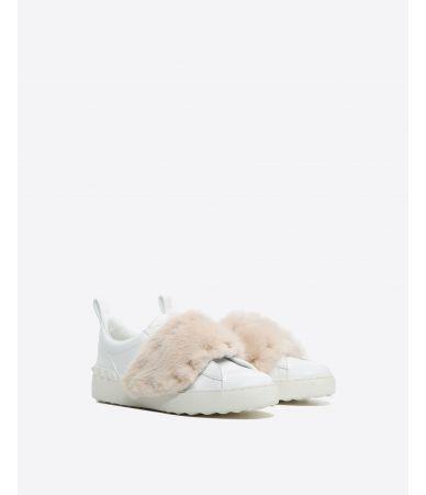 Valentino Garavani, Rockstud Calfskin Mink Sneakers