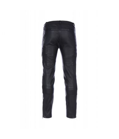 Les Hommes, Leather Biker Pants, Ribbed, Quilted