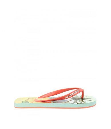 Papuci de plaja Dsquared2, Print Palm Tree, S15FF40117221242