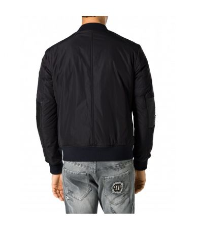 "Philipp Plein, Leather Bomber Jacket ""Piton"""